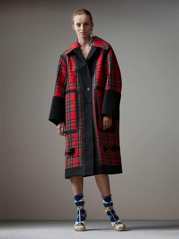 Tartan Bonded Cotton Seam-sealed Oversized Car Coat in Black