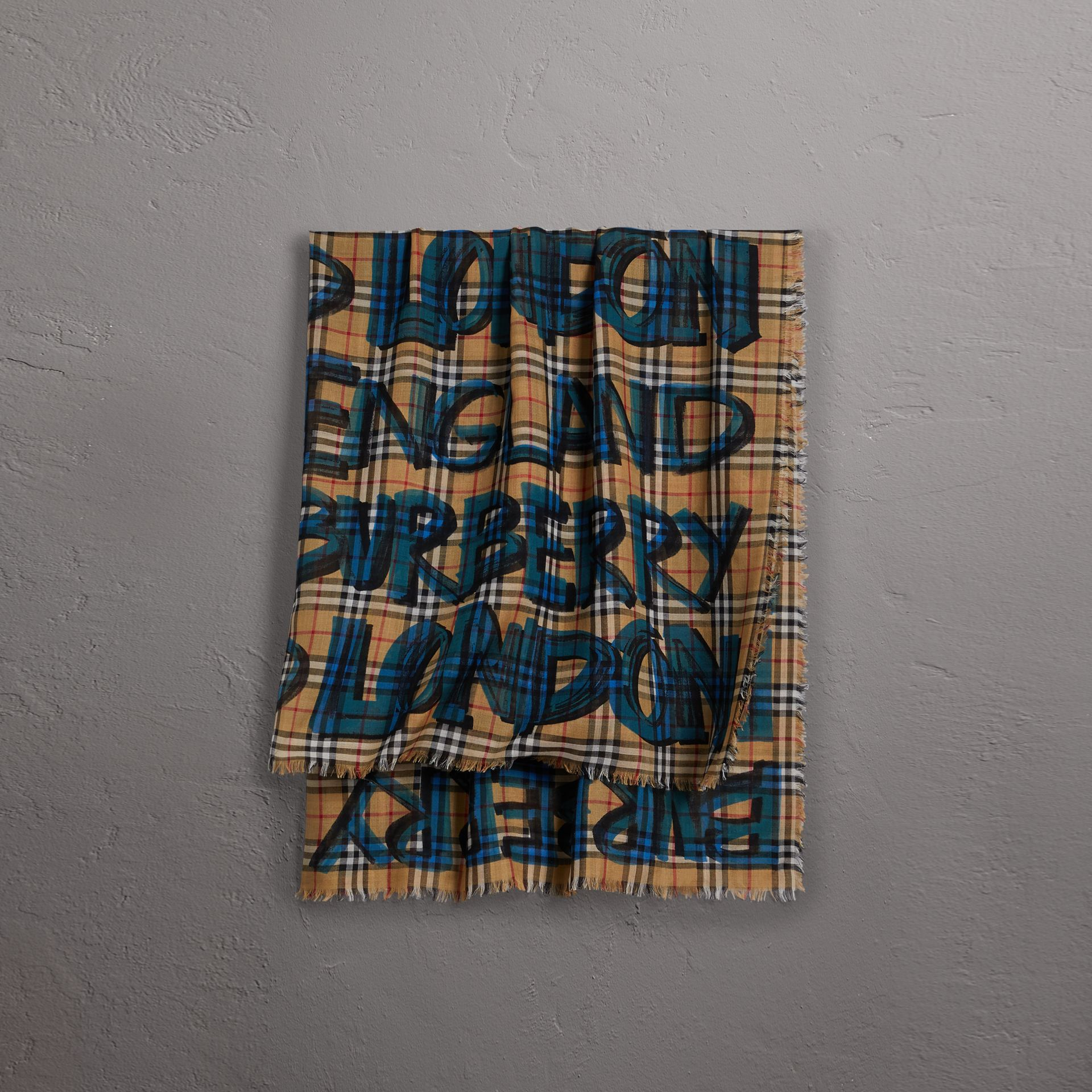 Graffiti Print Check Wool Silk Large Square Scarf in Brilliant Blue | Burberry United Kingdom - gallery image 0