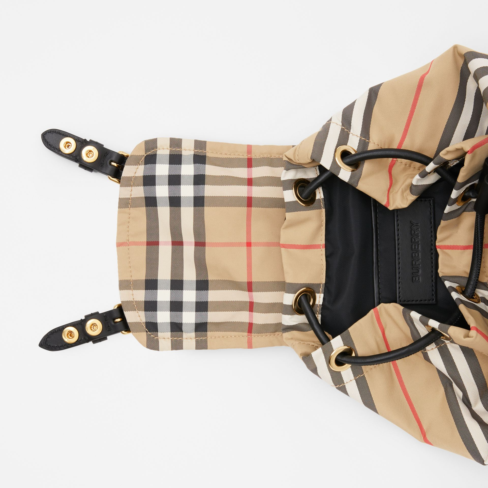 The Small Rucksack in Vintage Check and Icon Stripe in Archive Beige - Women | Burberry Australia - gallery image 4