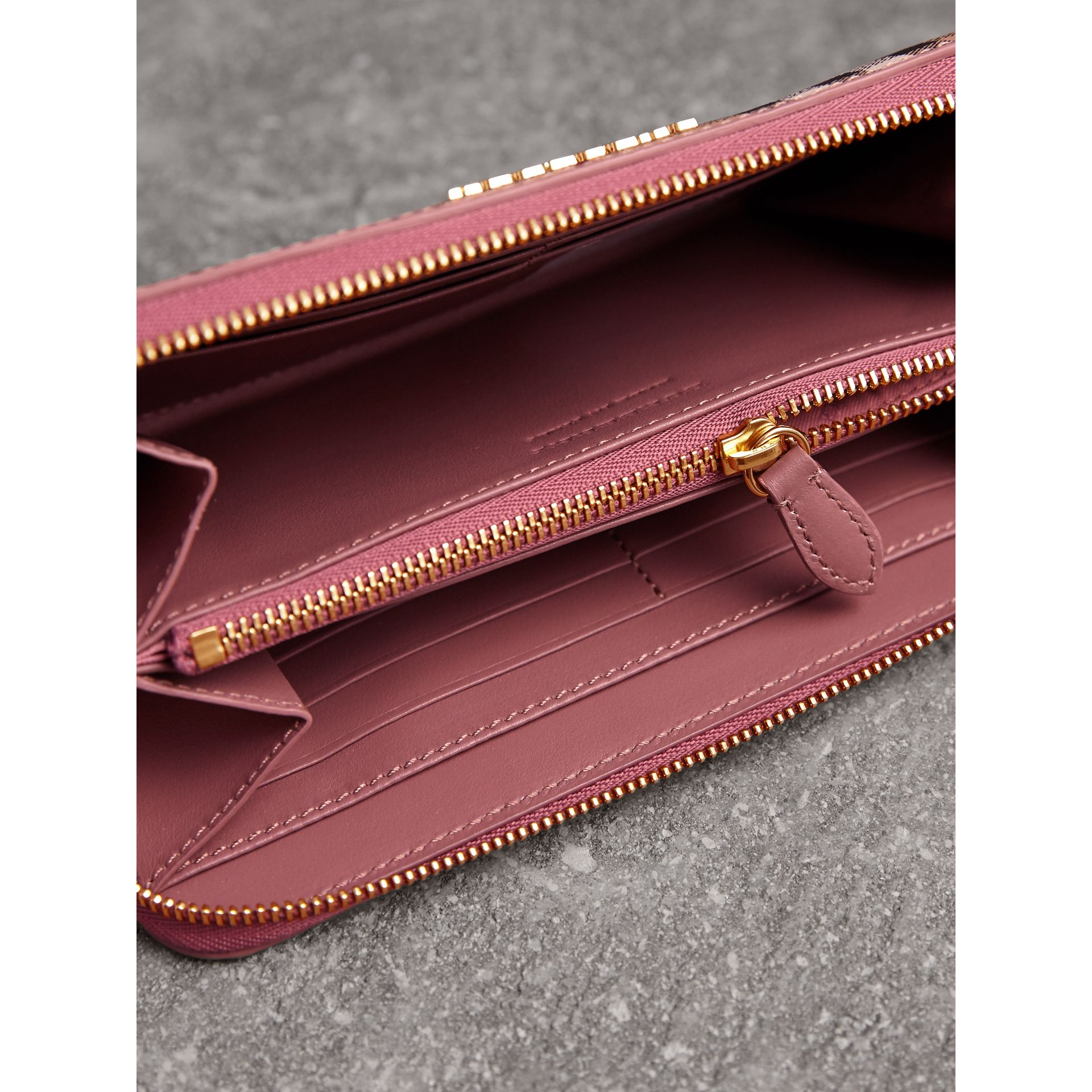 Haymarket Check and Leather Ziparound Wallet in Light Elderberry - Women | Burberry - gallery image 4