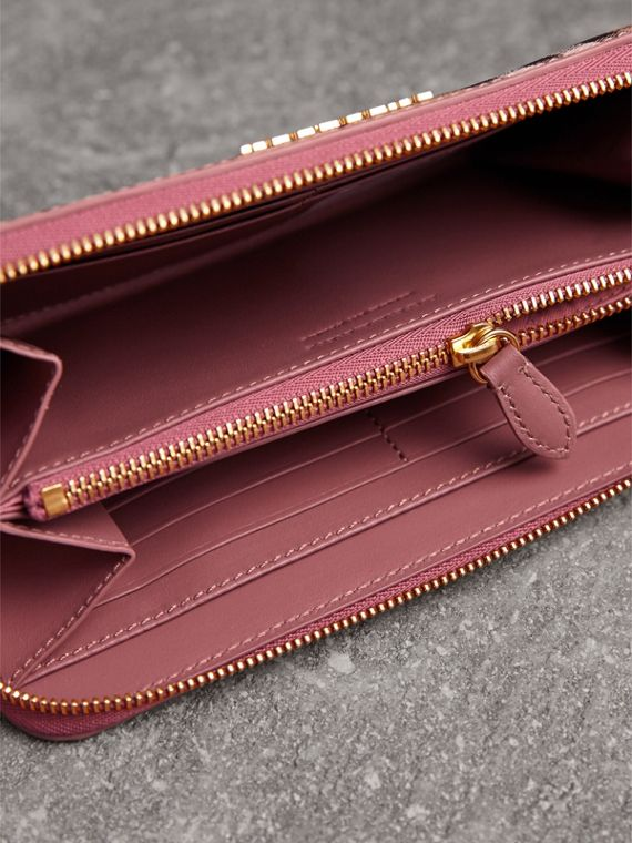 Haymarket Check and Leather Ziparound Wallet in Light Elderberry - Women | Burberry United Kingdom - cell image 3