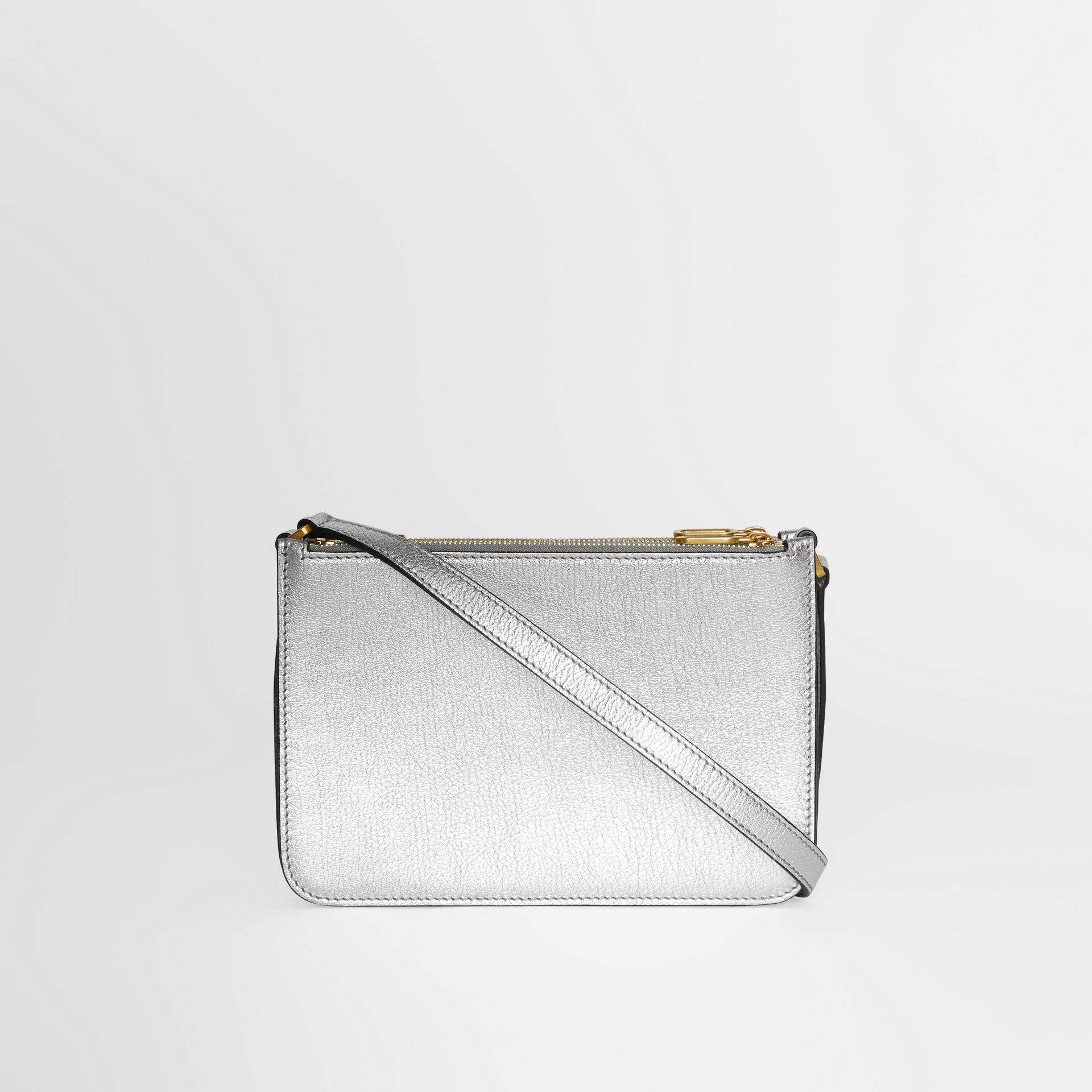 Triple Zip Metallic Leather Crossbody Bag in Silver - Women | Burberry Canada - gallery image 7