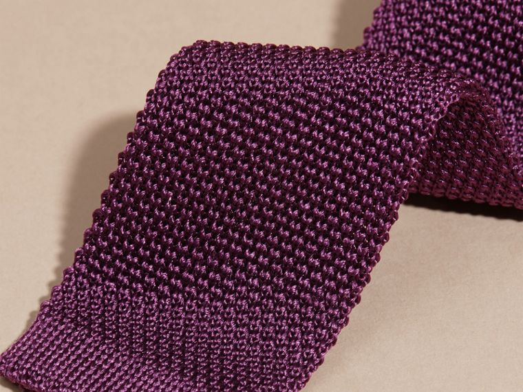 Dark purple Slim Cut Knitted Silk Tie Dark Purple - cell image 1