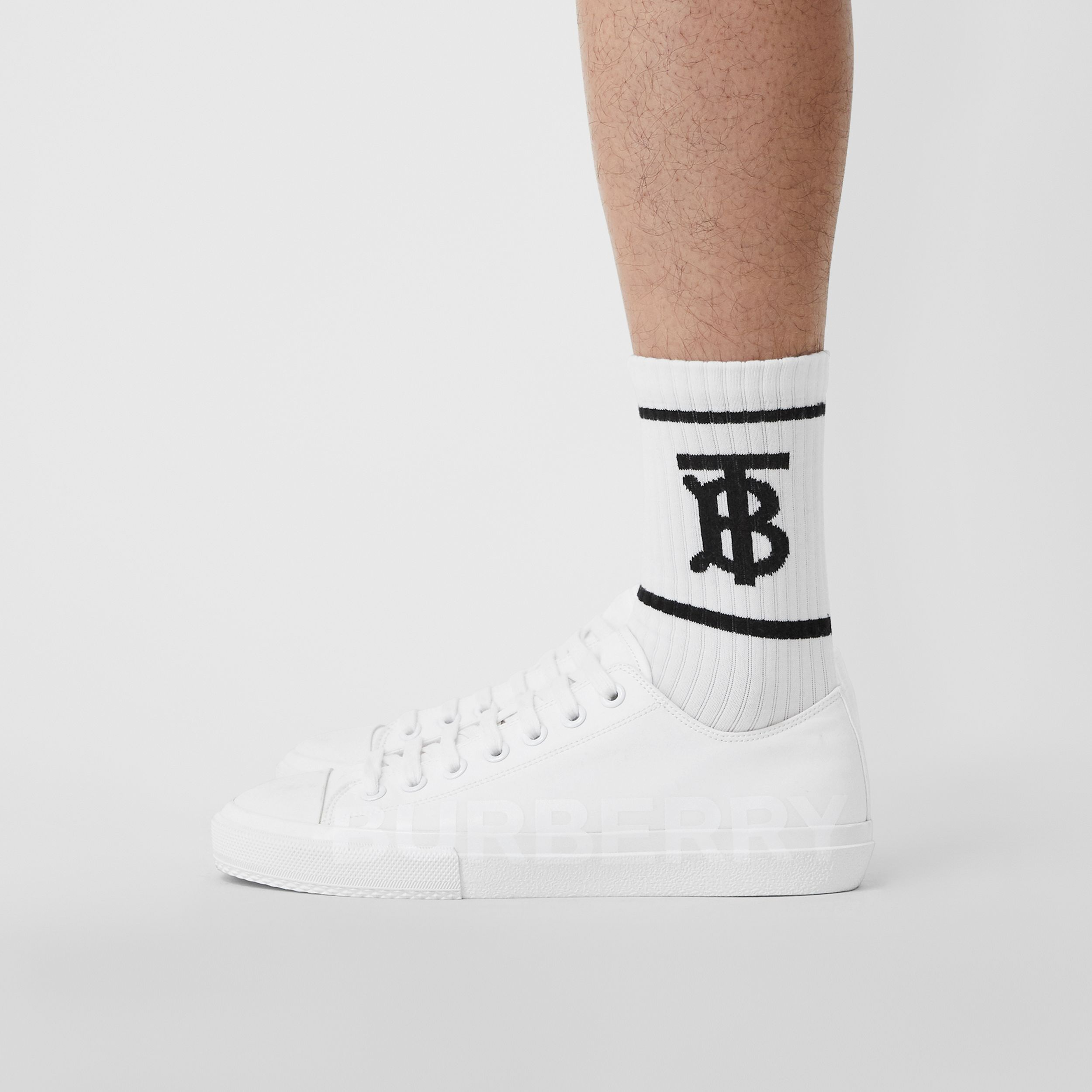 Men's Logo Print Cotton Gabardine Sneakers in Optic White - Men | Burberry - 3
