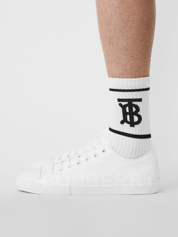 Men's Logo Print Cotton Gabardine Sneakers in Optic White - Men | Burberry - cell image 2
