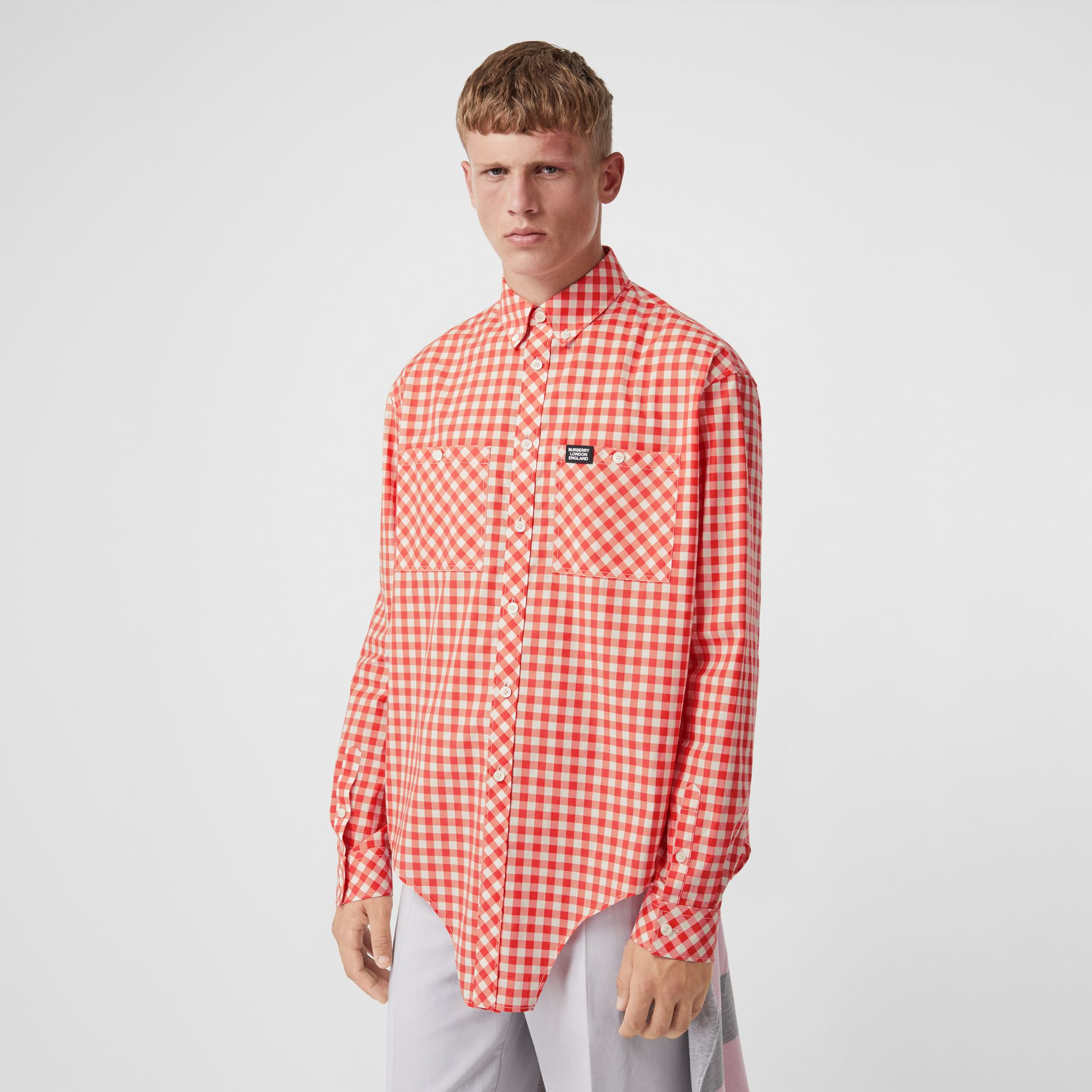 Cut-out Hem Gingham Cotton Oversized Shirt in Red | Burberry - gallery image 0