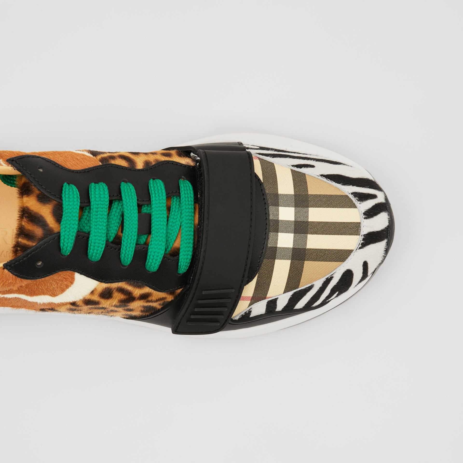 Animal Print and Vintage Check Sneakers in Archive Beige - Men | Burberry - gallery image 1