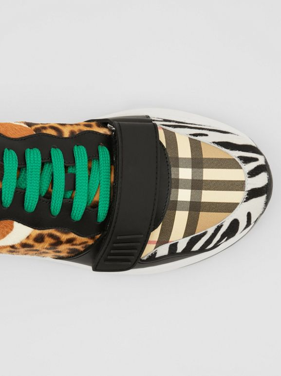 Animal Print and Vintage Check Sneakers in Archive Beige - Men | Burberry United Kingdom - cell image 1
