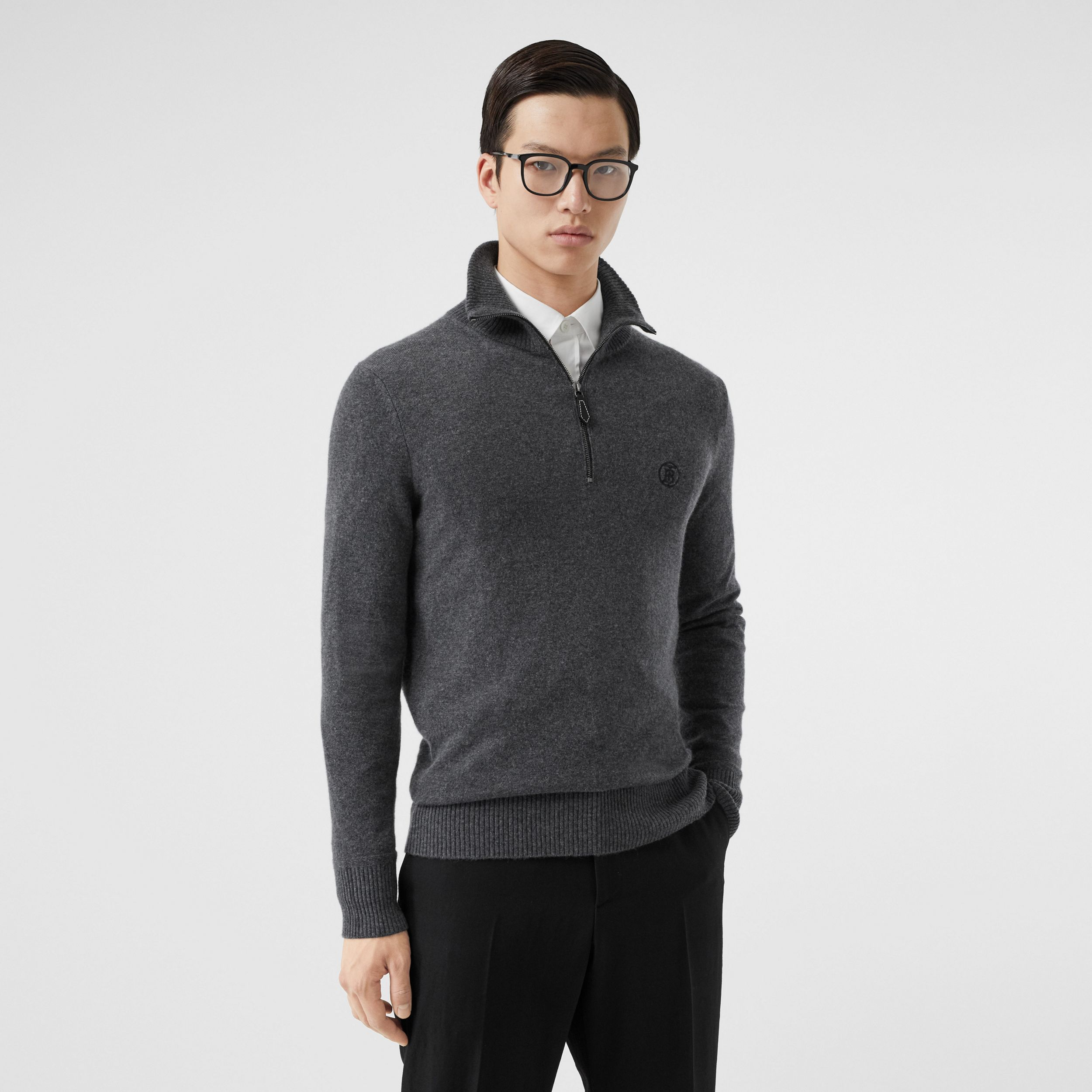 Monogram Motif Cashmere Funnel Neck Sweater in Steel Grey - Men | Burberry - 1