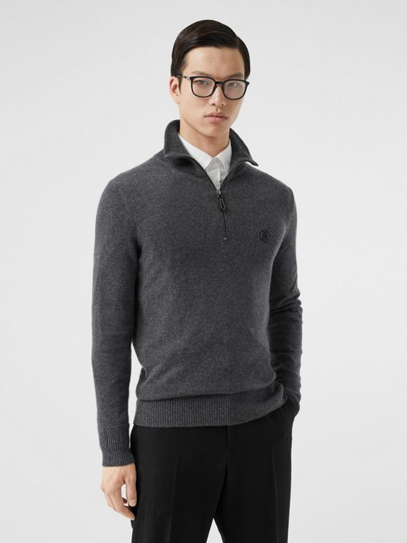 Monogram Motif Cashmere Funnel Neck Sweater in Steel Grey