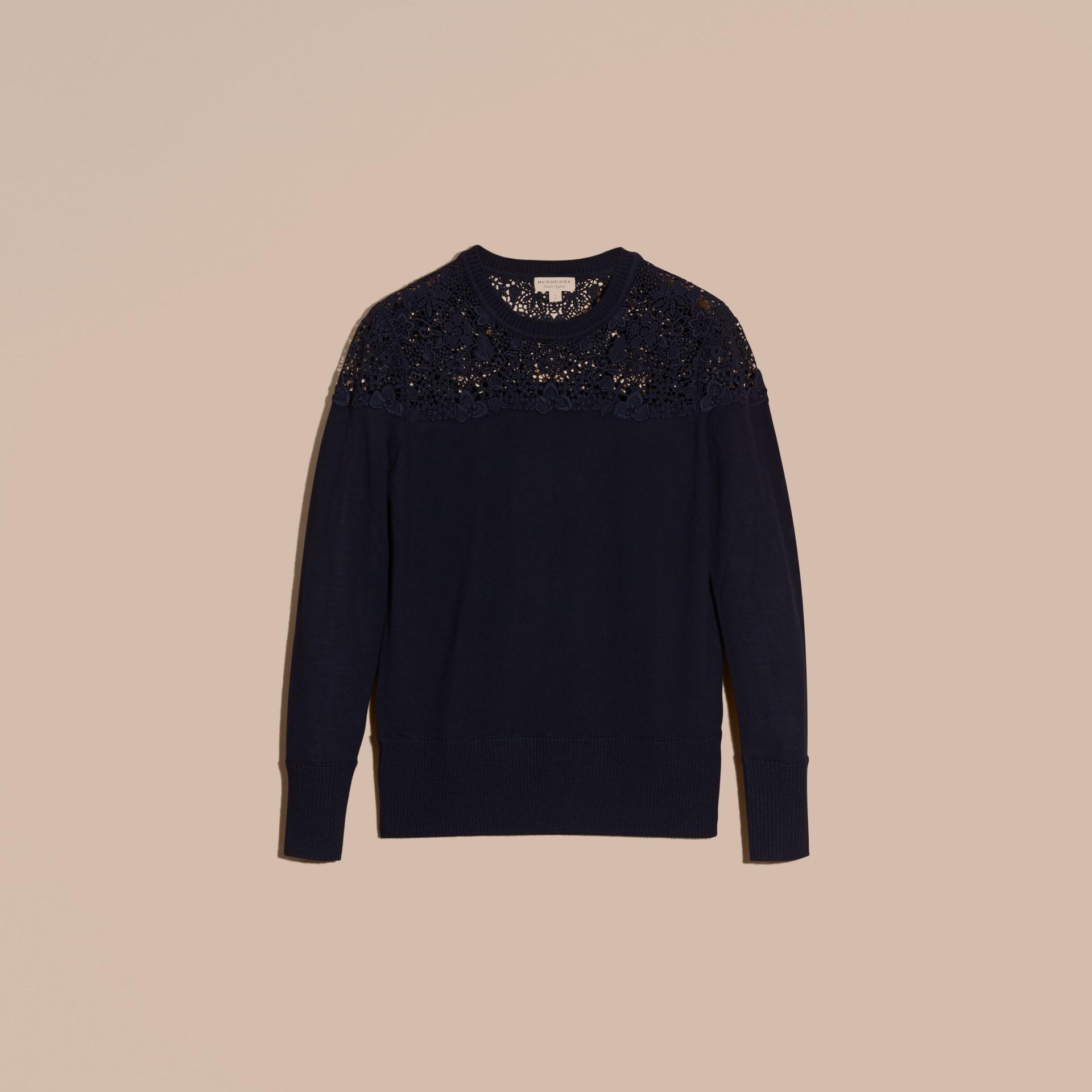 Navy Lace Yoke Merino Wool Sweater Navy - gallery image 4