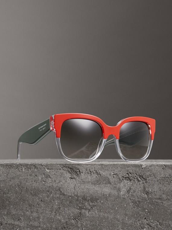 Óculos de sol com armação oversize quadrada em dois tons (Laranja)