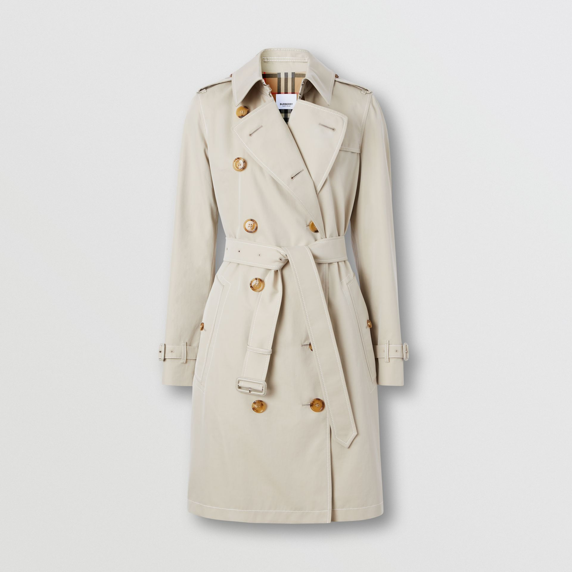 Topstitched Tropical Gabardine Trench Coat in Stone - Women | Burberry - gallery image 3