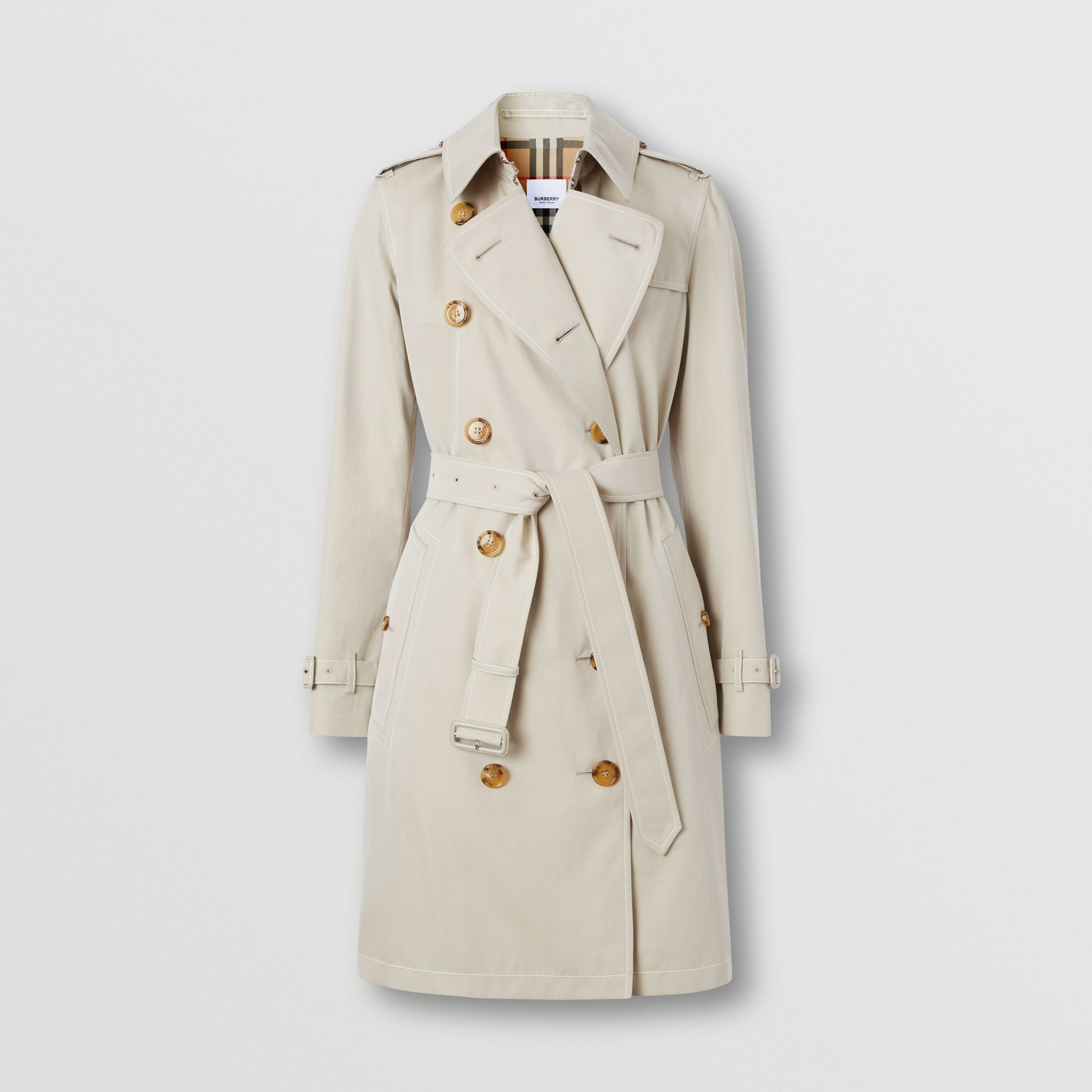 Topstitched Tropical Gabardine Trench Coat in Stone - Women | Burberry - 4