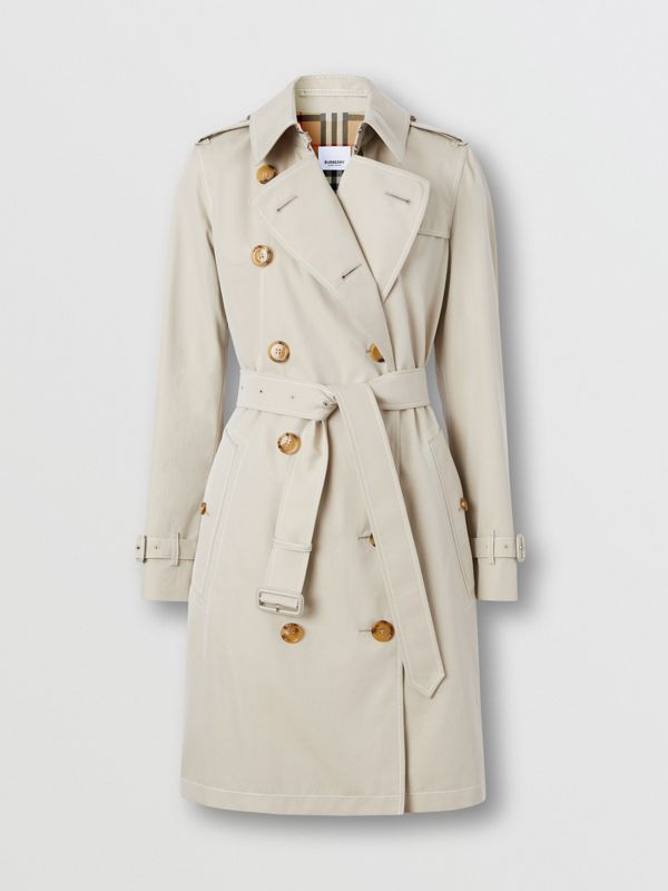 Topstitched Tropical Gabardine Trench Coat in Stone - Women | Burberry - cell image 3