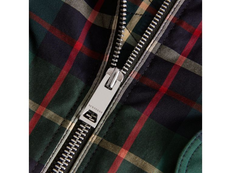 Tartan Padded Cotton Gabardine Bomber Jacket in Racing Green | Burberry - cell image 1