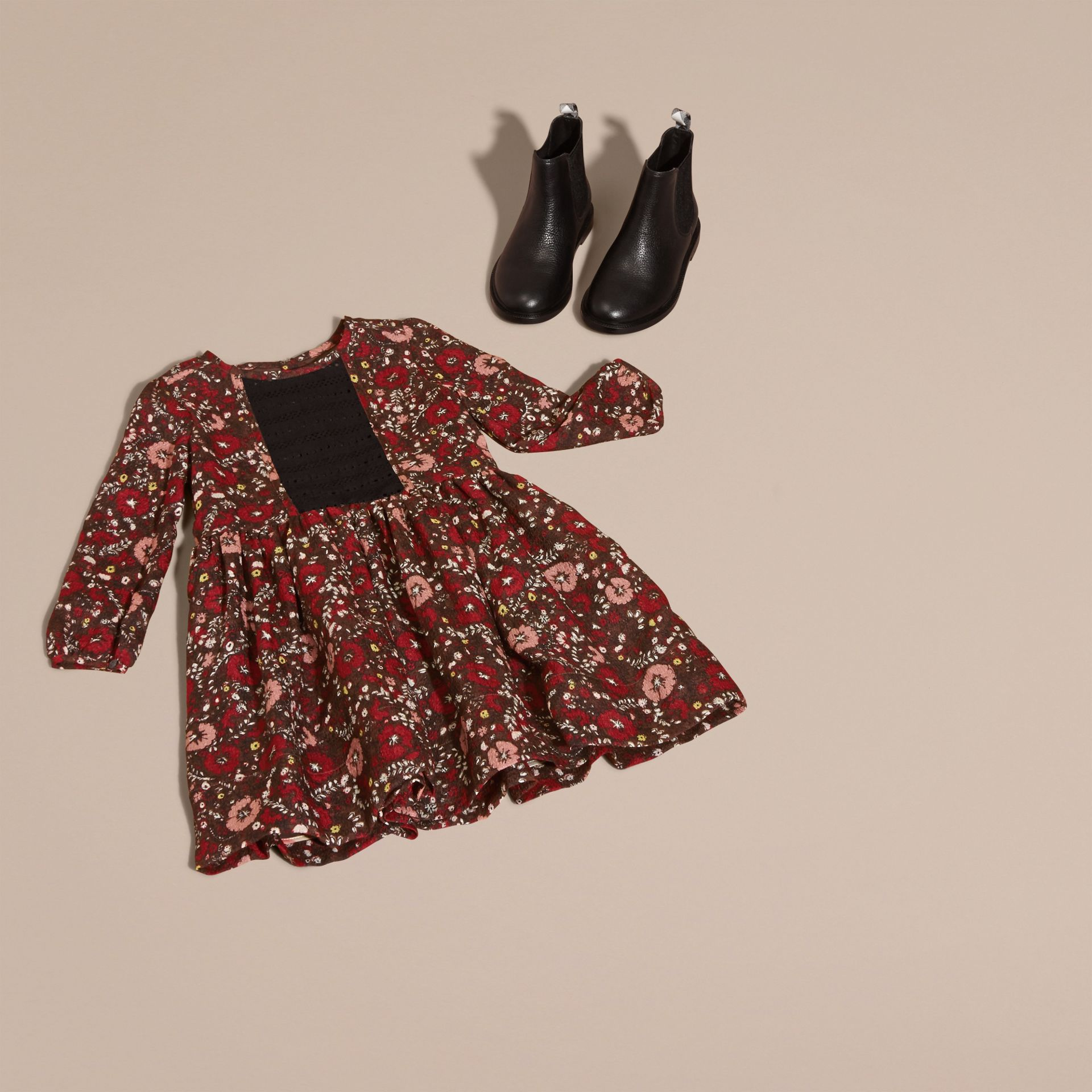 Carmine red Floral Print Silk Dress - gallery image 5
