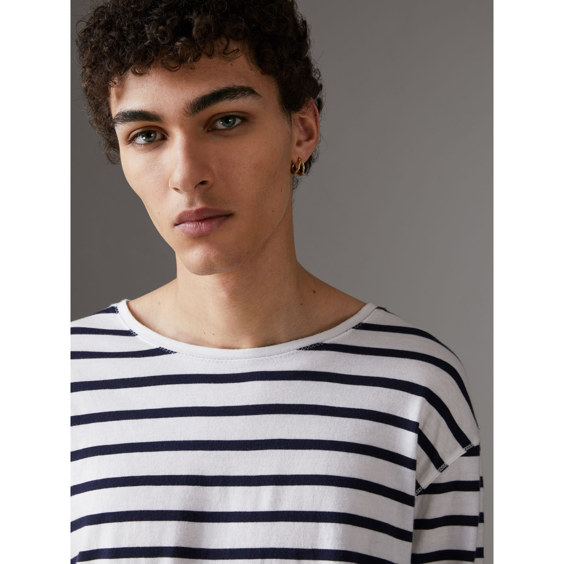 Breton Stripe Cotton Jersey Top in White/blue - Men | Burberry - gallery image 1