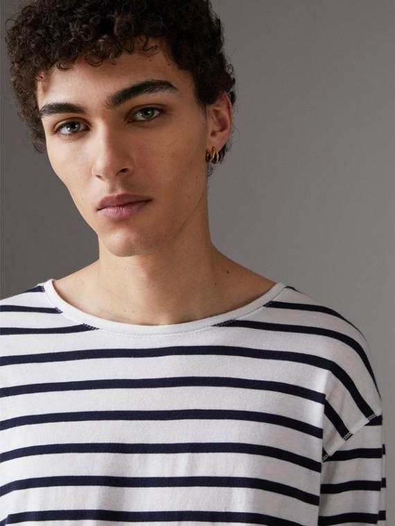 Breton Stripe Cotton Jersey Top in White/blue