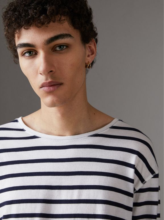 Breton Stripe Cotton Jersey Top in White/blue - Men | Burberry - cell image 1