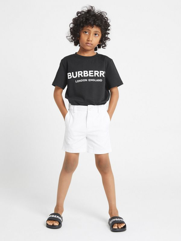 Cotton Chino Shorts in Optic White | Burberry - cell image 2