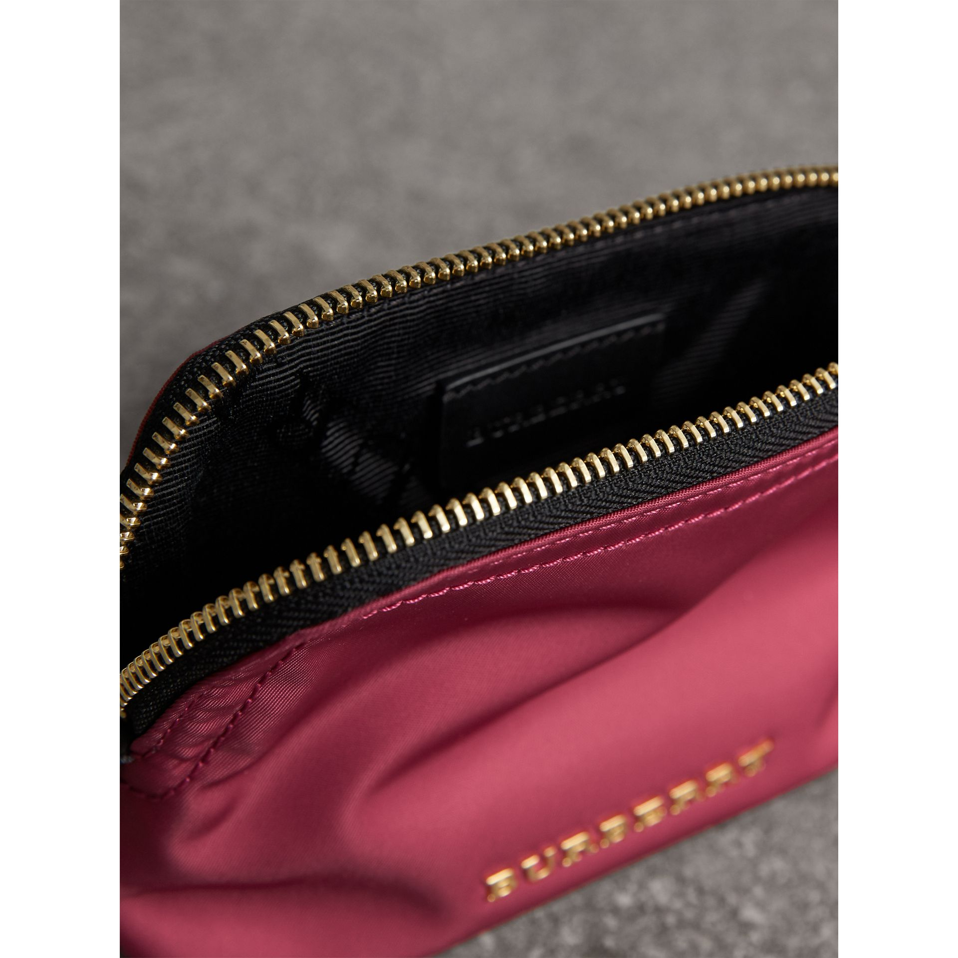 Small Zip-top Technical Nylon Pouch in Plum Pink - Women | Burberry - gallery image 4