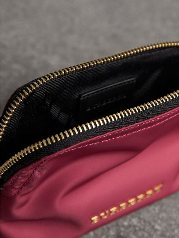 Small Zip-top Technical Nylon Pouch in Plum Pink - Women | Burberry Canada - cell image 3