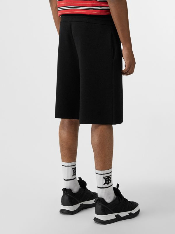 Monogram Motif Merino Wool Drawcord Shorts in Black - Men | Burberry Canada - cell image 2