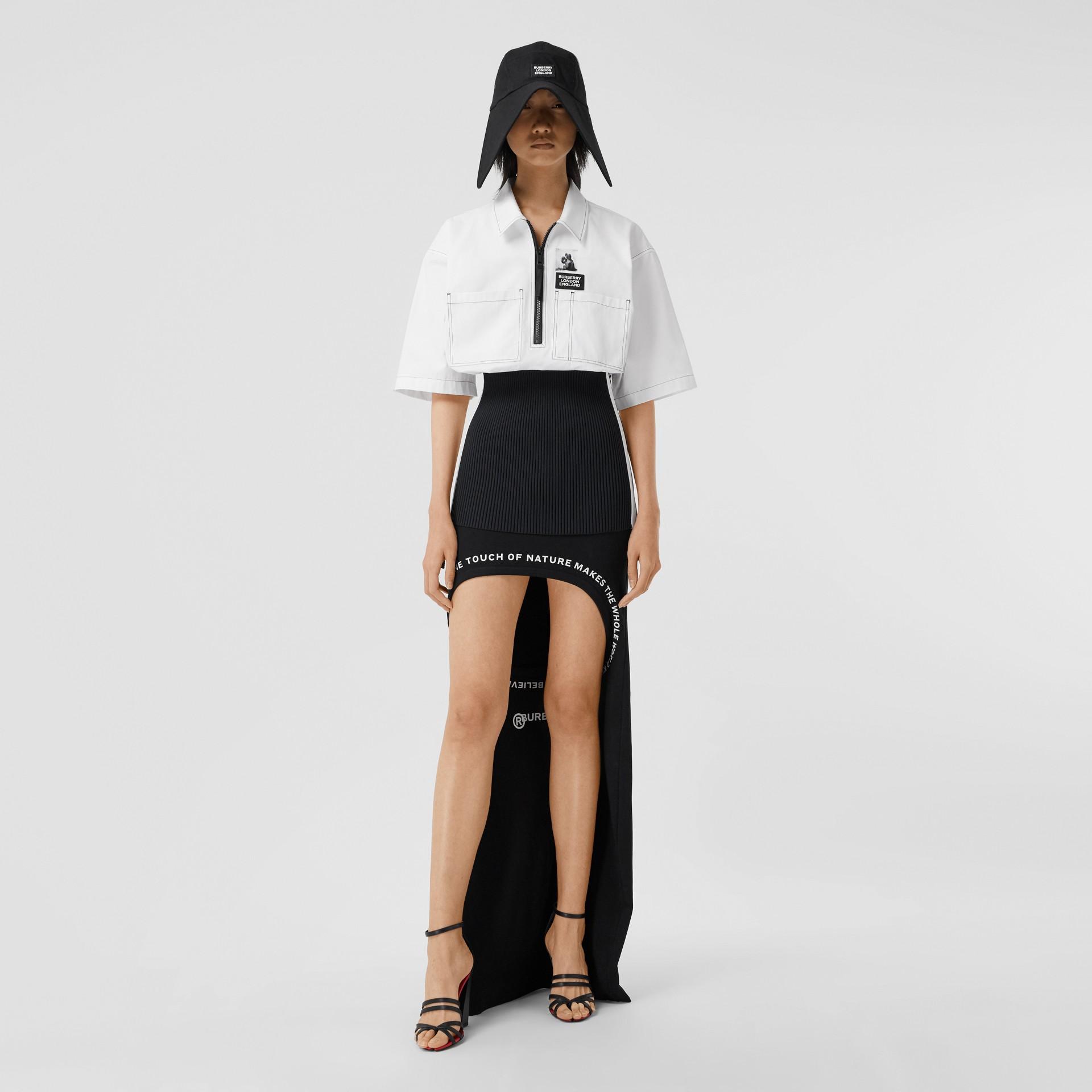Объемная футболка с трикотажной отделкой (Оптический Белый) - Для женщин | Burberry - изображение 0