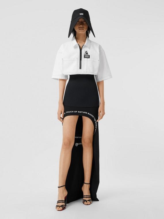 ショートスリーブ リブニットディテール コットン オーバーサイズシャツ (オプティックホワイト)