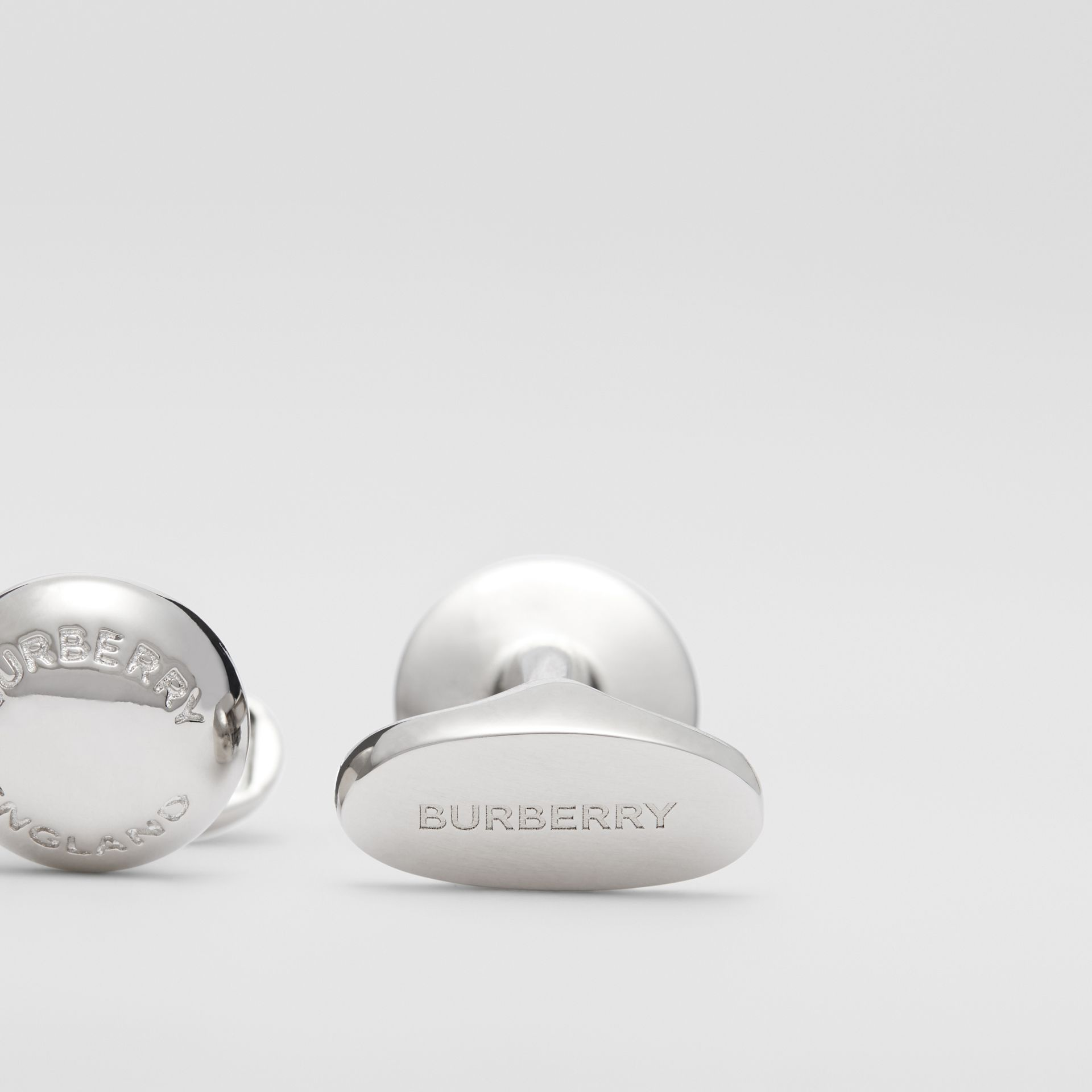 Logo-engraved Palladium-plated Round Cufflinks in Palladio - Men | Burberry Hong Kong S.A.R - gallery image 1