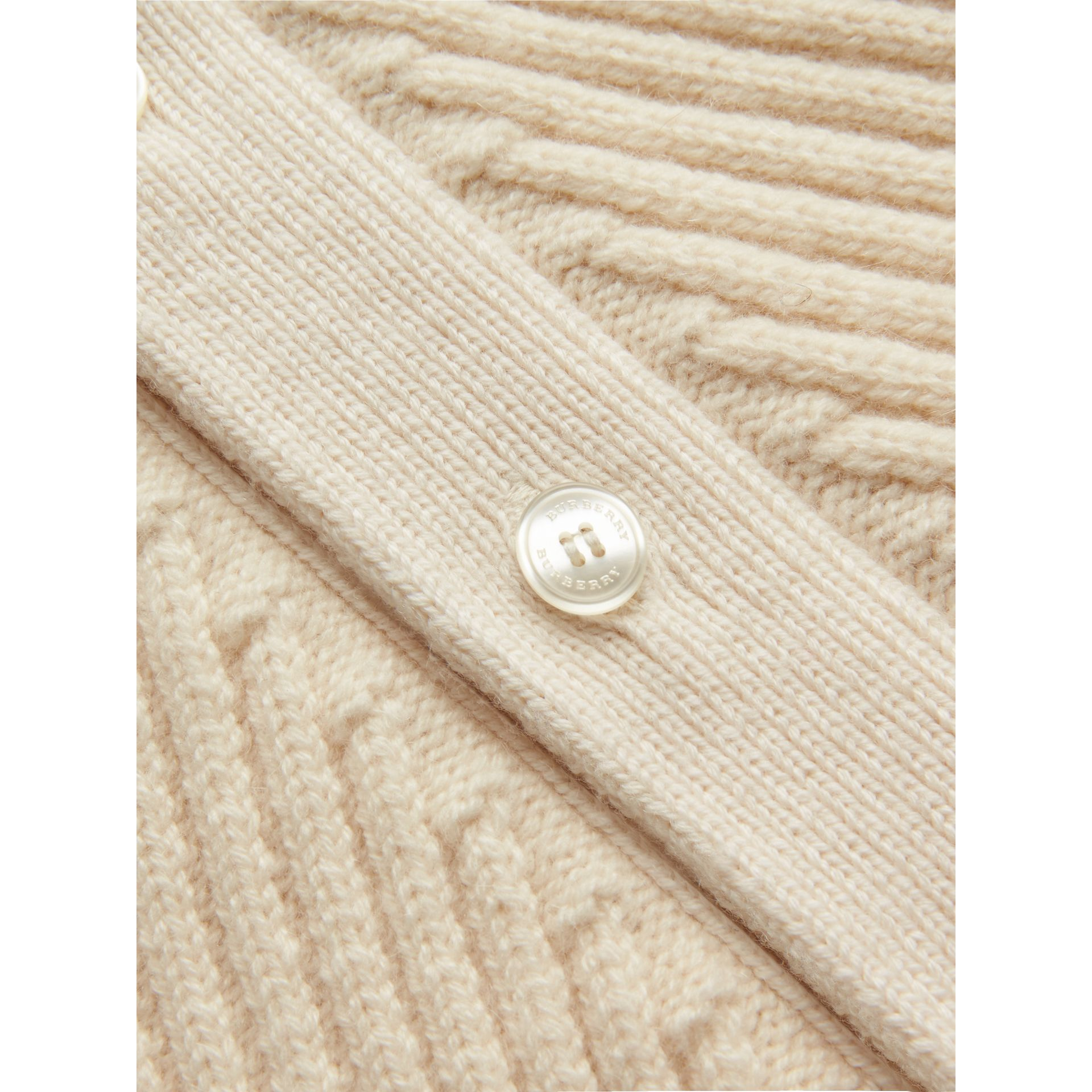 Rib Knit Wool Cashmere Cardigan in Ivory | Burberry - gallery image 1