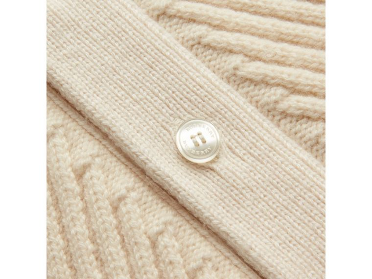 Rib Knit Wool Cashmere Cardigan in Ivory | Burberry - cell image 1