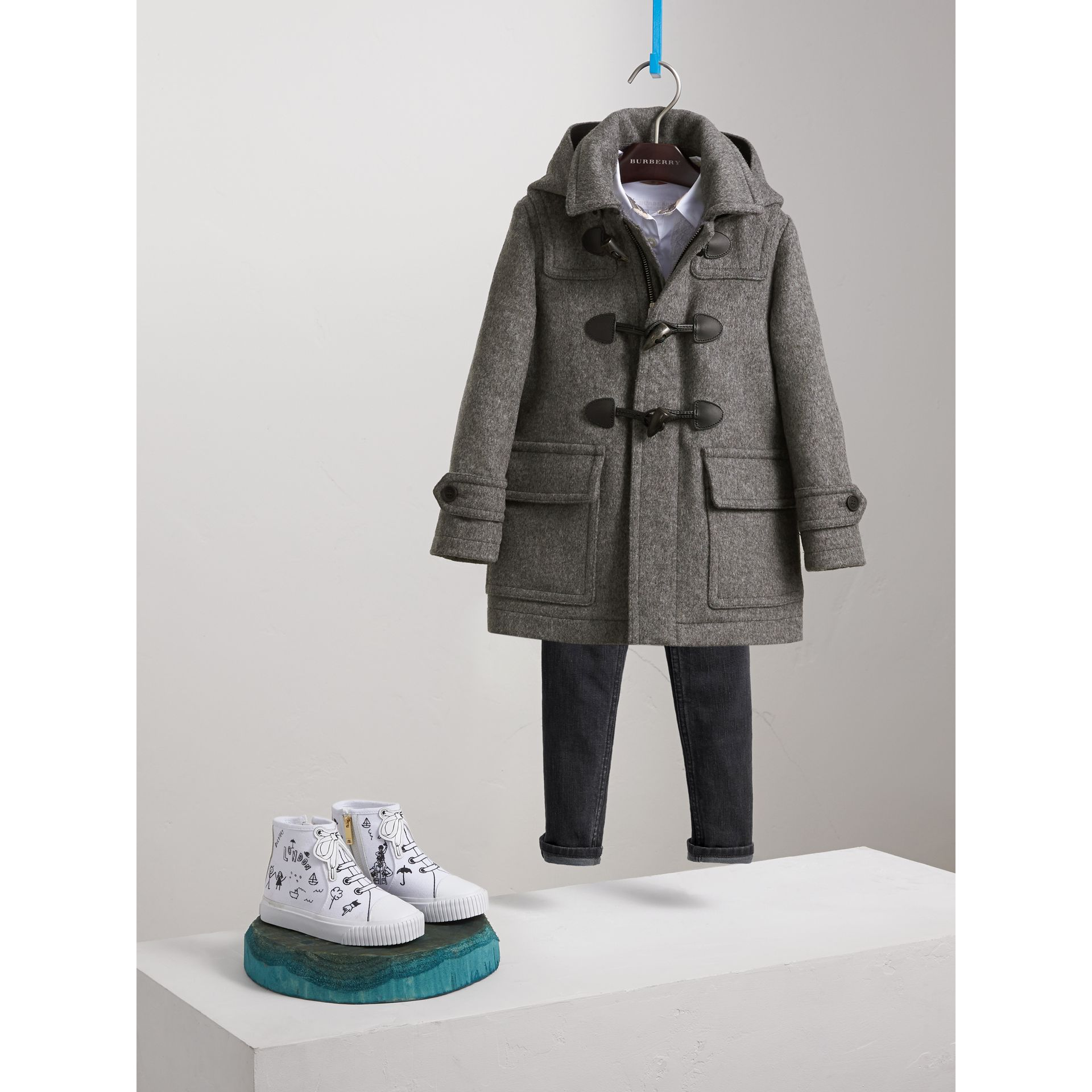Hooded Wool Duffle Coat in Mid Grey Melange - Boy | Burberry - gallery image 0
