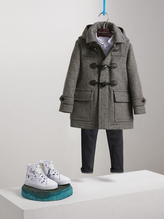 Hooded Wool Duffle Coat in Mid Grey Melange - Boy | Burberry Canada