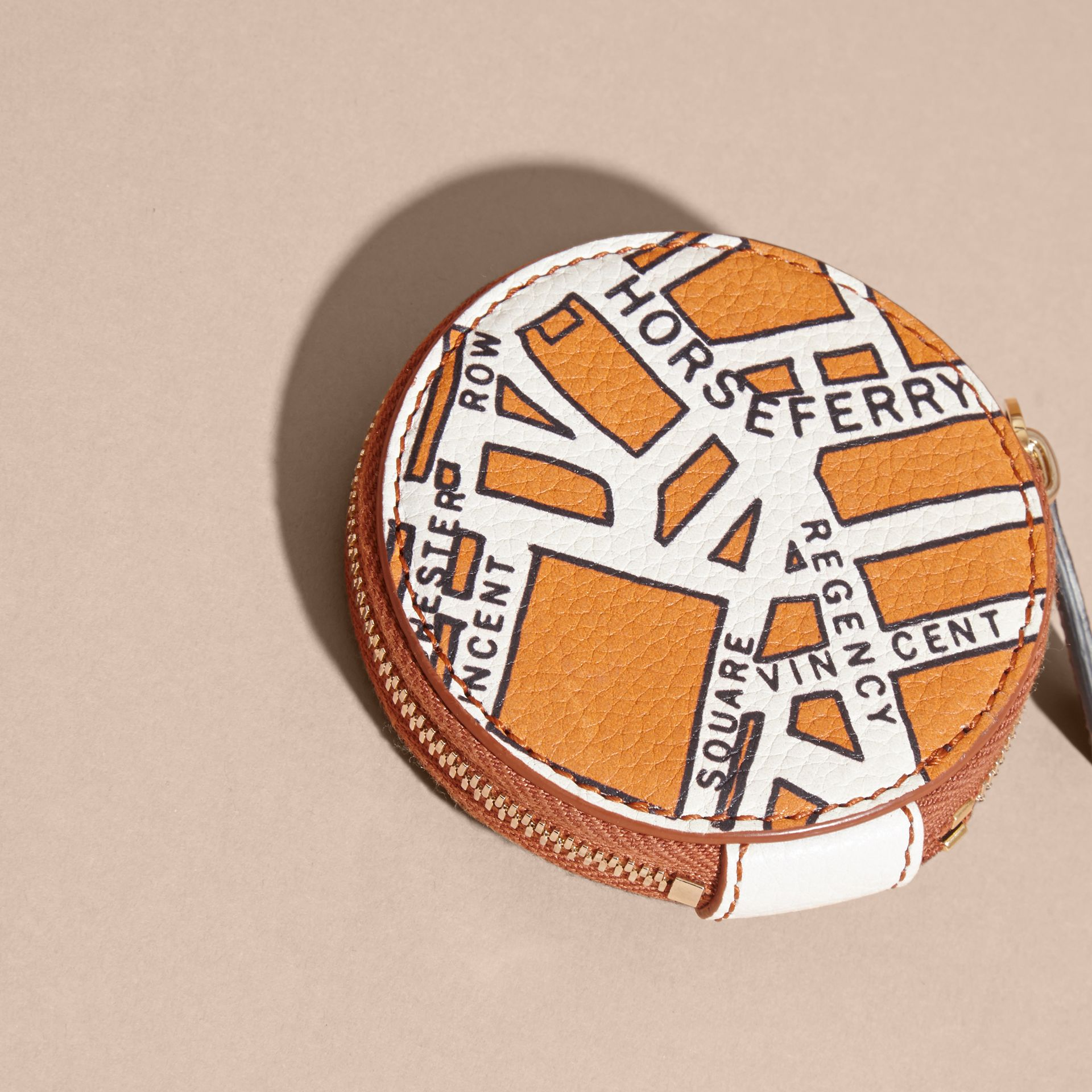Orange umber London Street Map Grainy Leather Coin Case - gallery image 4