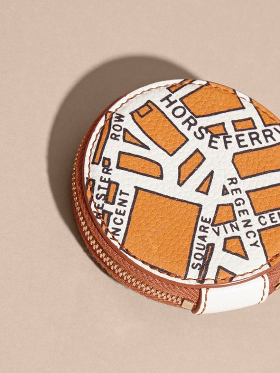 Orange umber London Street Map Grainy Leather Coin Case - cell image 3