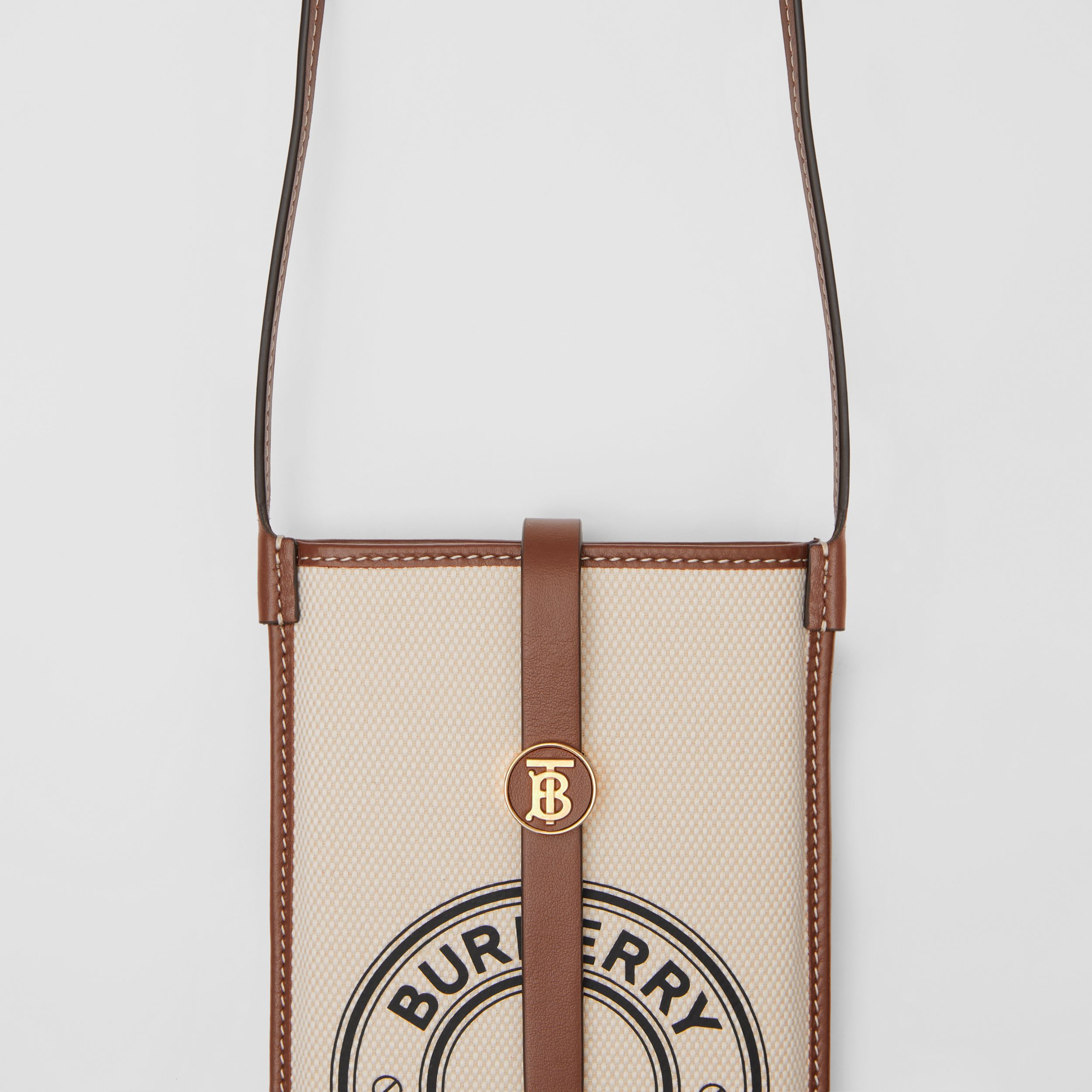 Logo Graphic Cotton Canvas Phone Case with Strap in White/tan | Burberry - 2