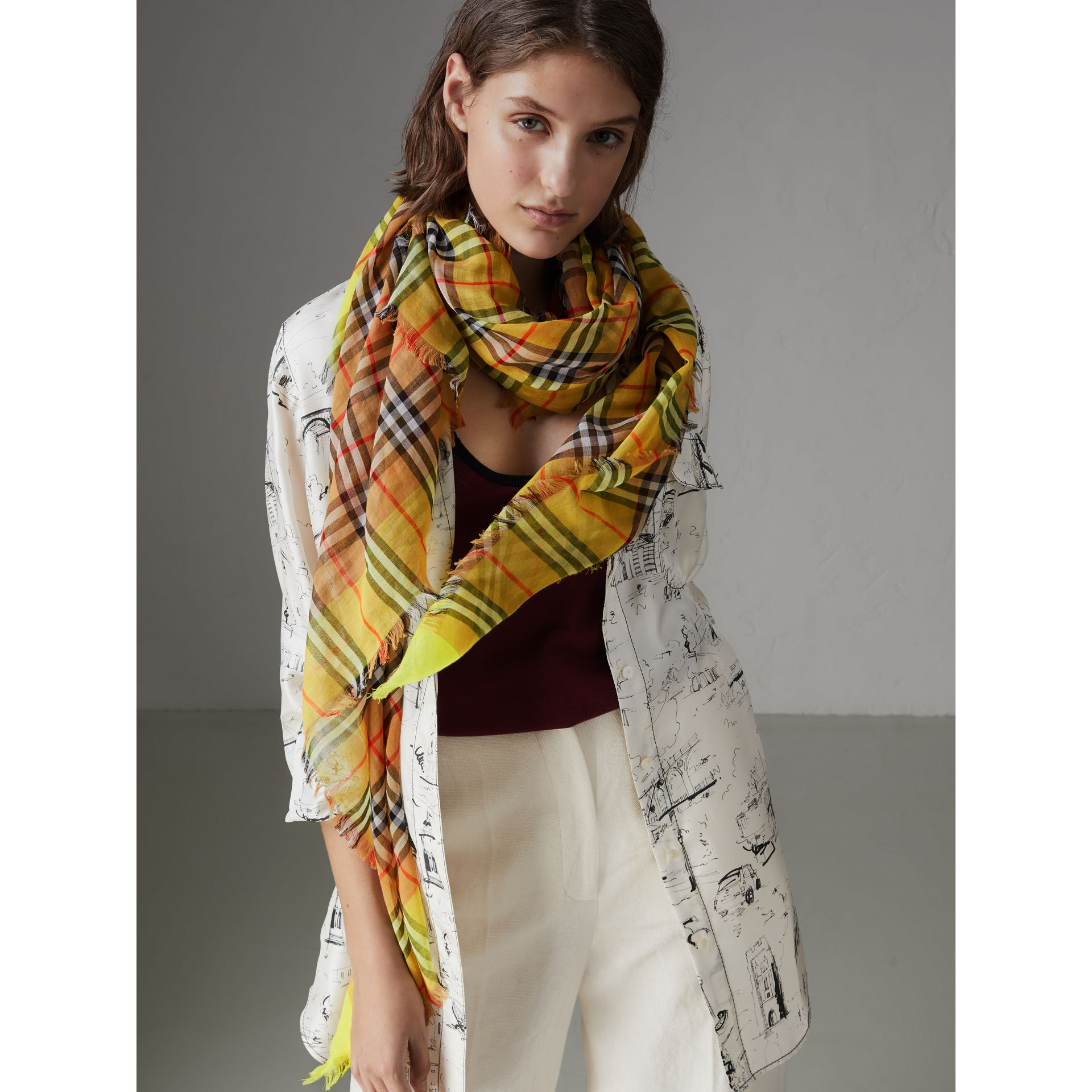 Two-tone Vintage Check Cotton Square Scarf in Bright Lemon | Burberry United States - gallery image 4