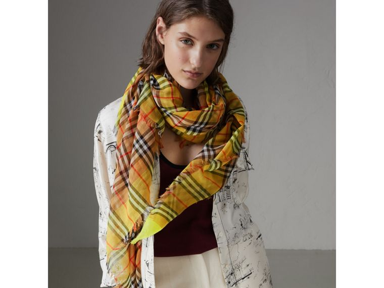 Two-tone Vintage Check Cotton Square Scarf in Bright Lemon | Burberry - cell image 4