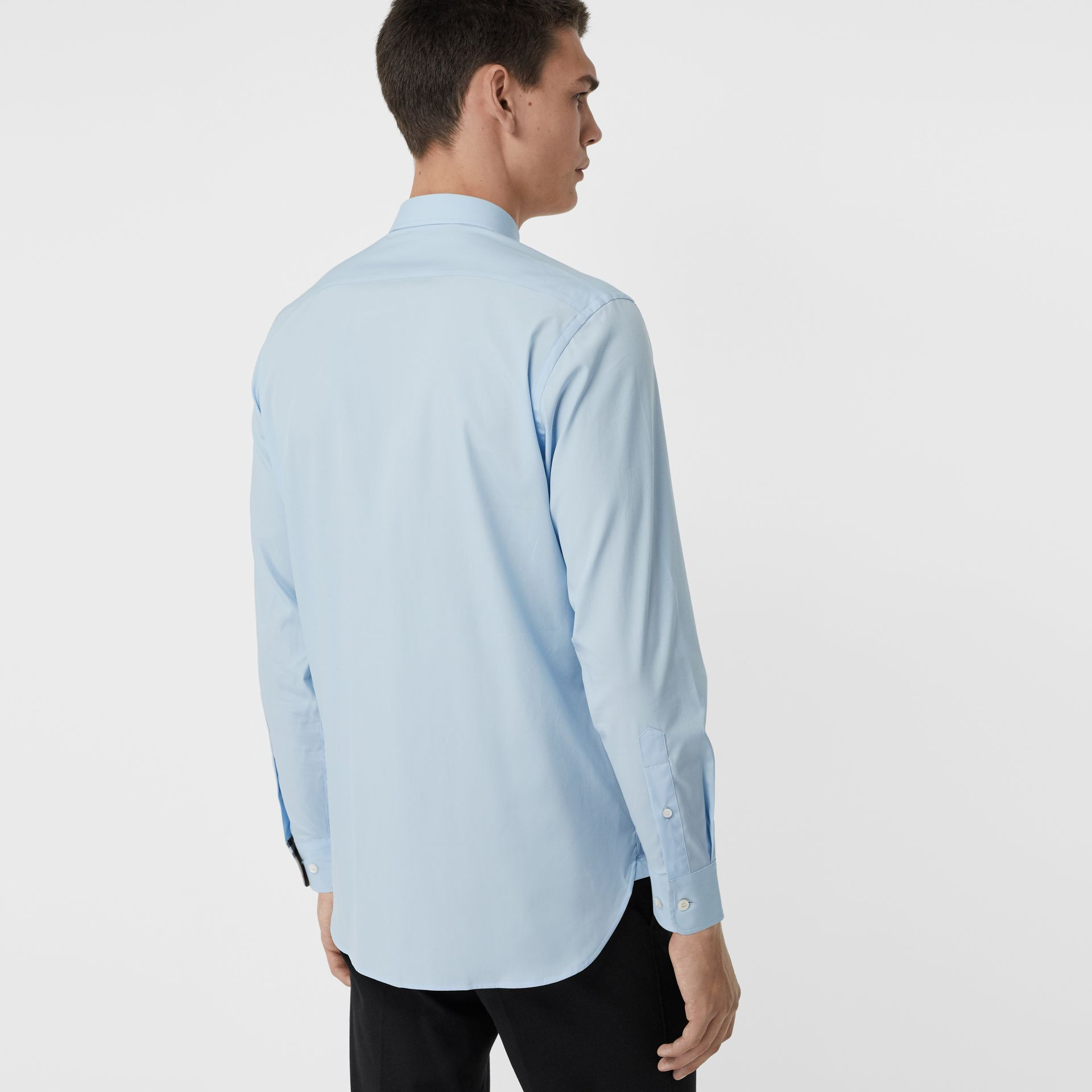 Check Cuff Stretch Cotton Poplin Shirt in Pale Blue - Men | Burberry - gallery image 2