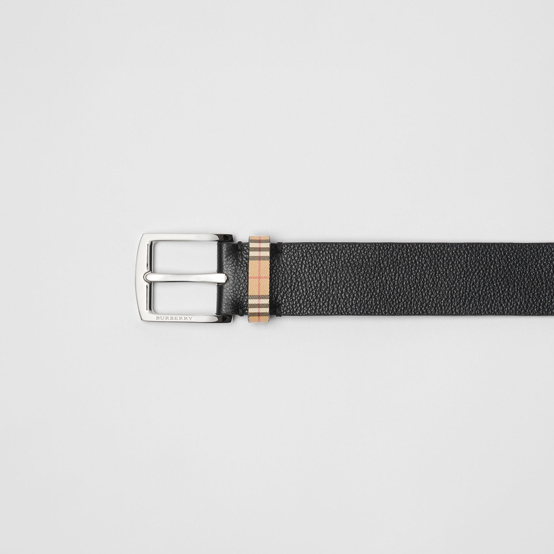 Check Detail Grainy Leather Belt in Black - Men | Burberry - gallery image 1