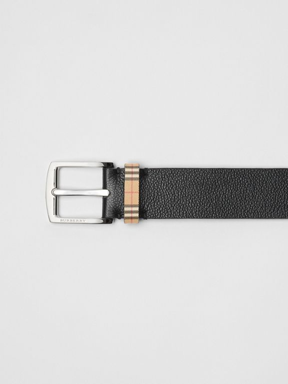Check Detail Grainy Leather Belt in Black - Men | Burberry United States - cell image 1