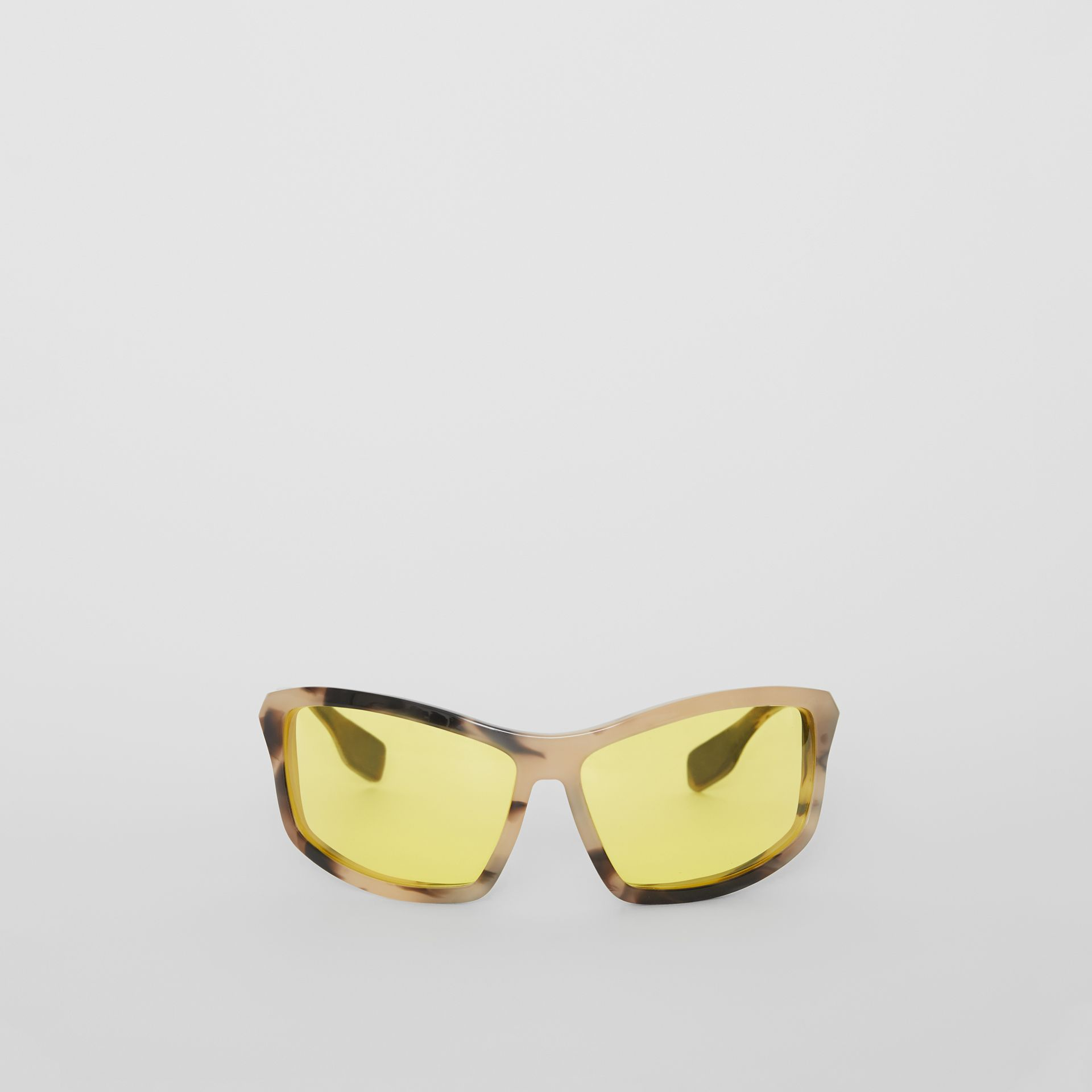 Wrap Frame Sunglasses in Yellow - Men | Burberry - gallery image 0