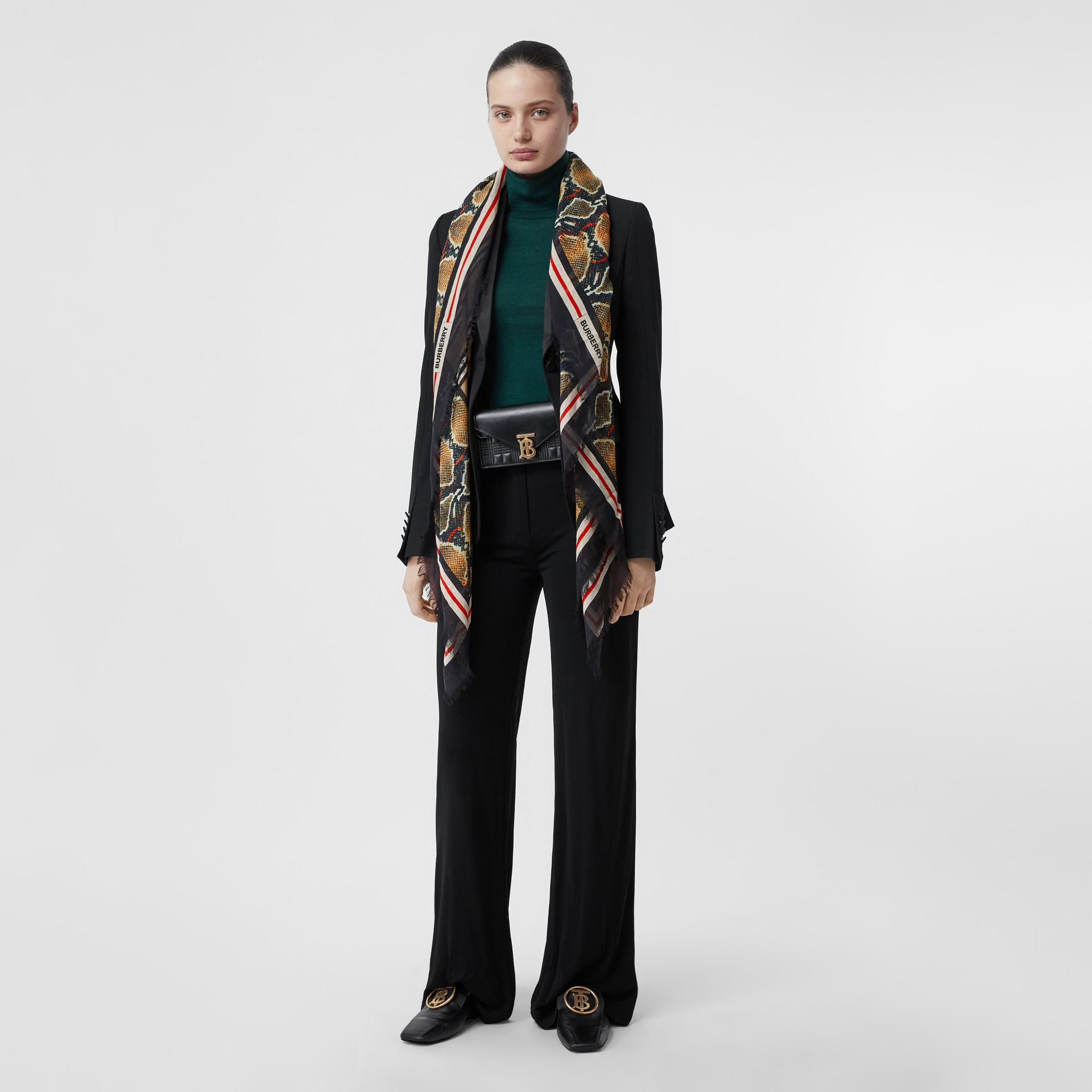 Icon Stripe Wool Silk Large Square Scarf in Archive Beige | Burberry - gallery image 7