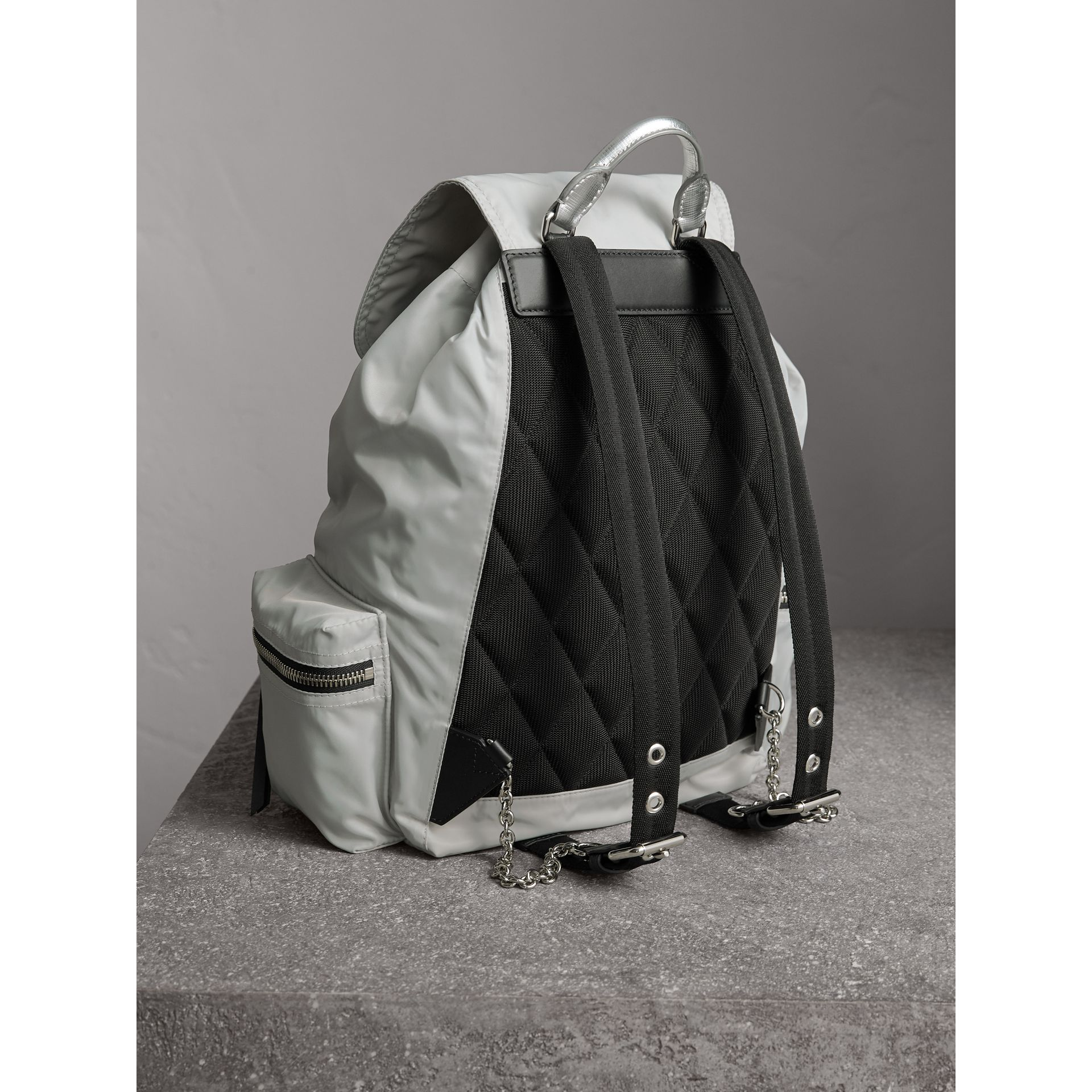 The Large Rucksack in Technical Nylon and Leather in Pale Stone/silver - Women | Burberry United Kingdom - gallery image 3