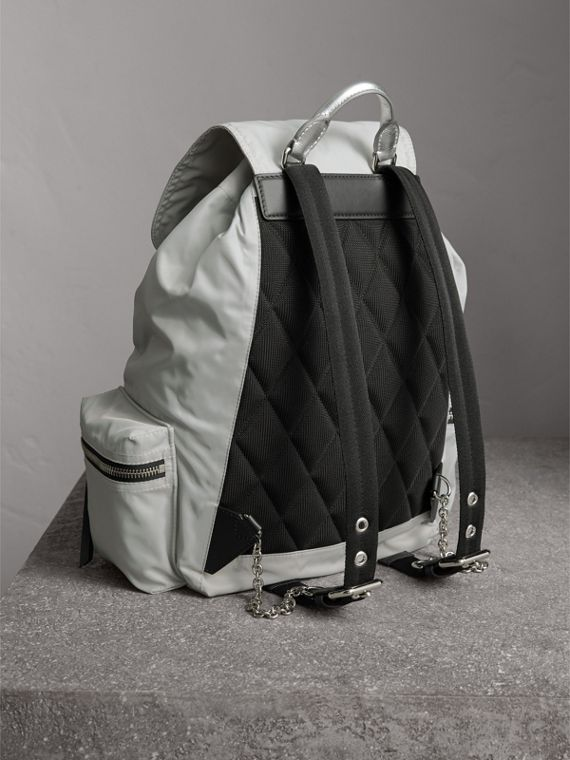 The Large Rucksack in Technical Nylon and Leather in Pale Stone/silver - Women | Burberry Australia - cell image 3