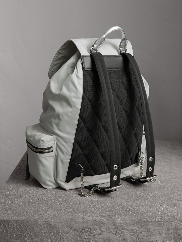 The Large Rucksack in Technical Nylon and Leather in Pale Stone/silver - Women | Burberry United Kingdom - cell image 3