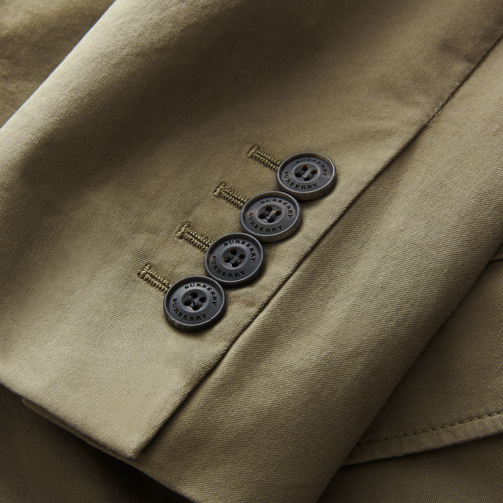 Slim Fit Stretch-cotton Blazer Khaki Green - gallery image 2
