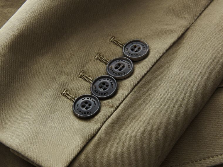 Slim Fit Stretch-cotton Blazer Khaki Green - cell image 1